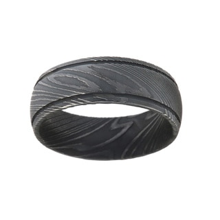 Men's Black Damascus Steel 8-millimeter Ring