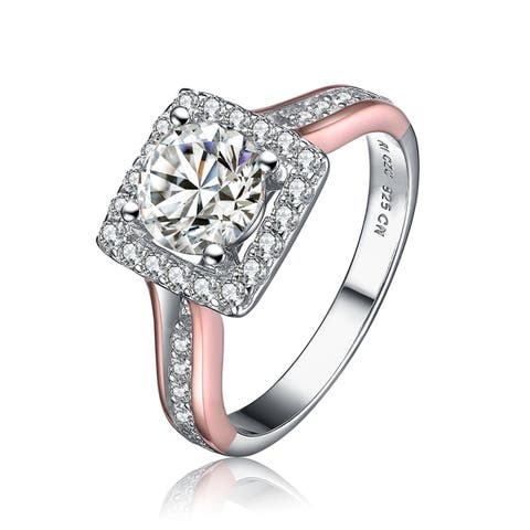 Collette Z Sterling Silver Rose Gold Accent Cubic Zirconia Ring - White