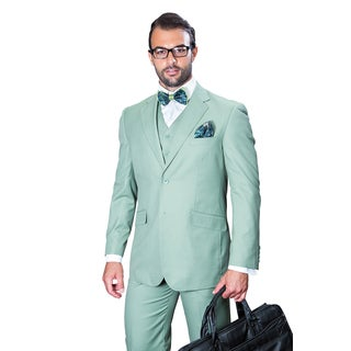 Statement Men's Apple Green Wool 3-piece Suit