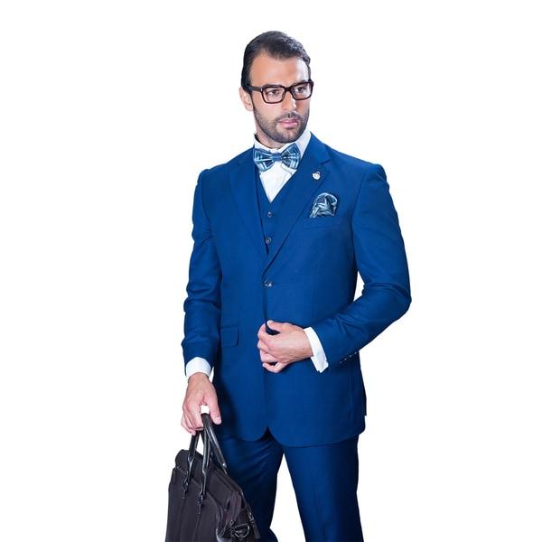 582a73734447 Shop Statement Men's Sapphire Wool 3-piece Suit - On Sale - Free ...