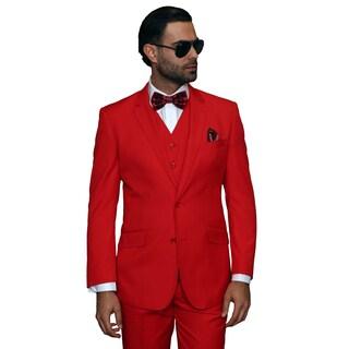 Statement Men's 3-piece Red Wool Suit