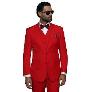 Statement Men's 3-piece Red Wool Suit