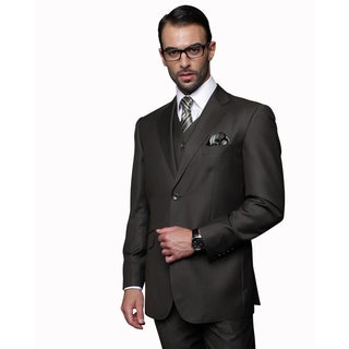 Statement Men's Olive Wool Three Piece Suit