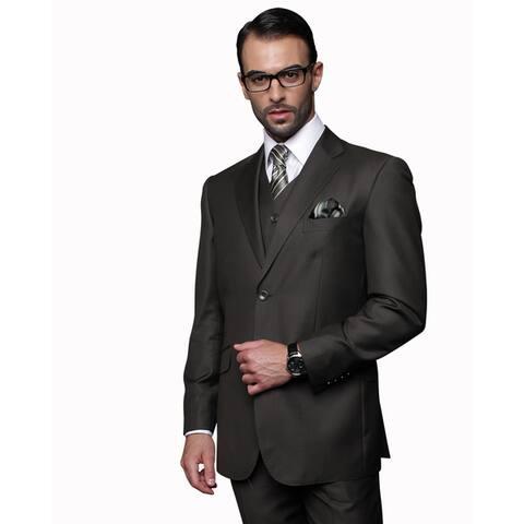 Statement Men's Olive Wool Three Piece Suit