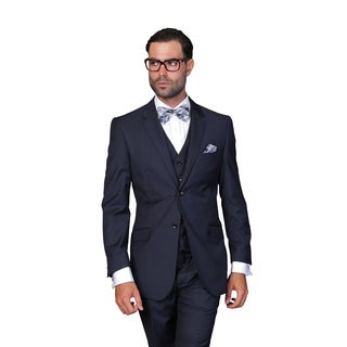 Statement Men's Navy Wool 3-piece Suit