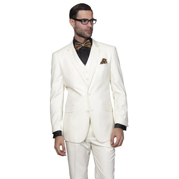 Statement Men's 3-piece Off-white Wool Suit