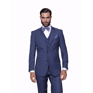 Statement Men's Blue Wool 3-piece Suit
