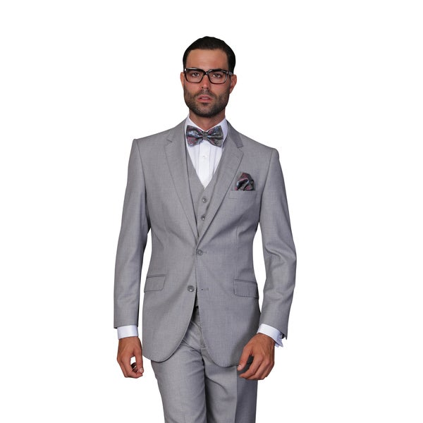 Statement Men's Grey Wool 3-piece Suit