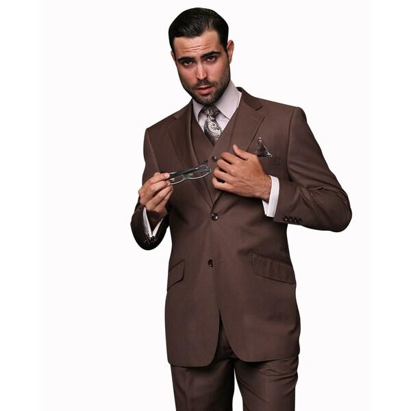 Statement Men's Brown Wool 3-piece Suit