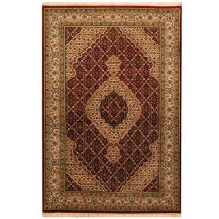 Herat Oriental Indo Hand-knotted Tabriz Wool & Silk Rug (4' x 6')