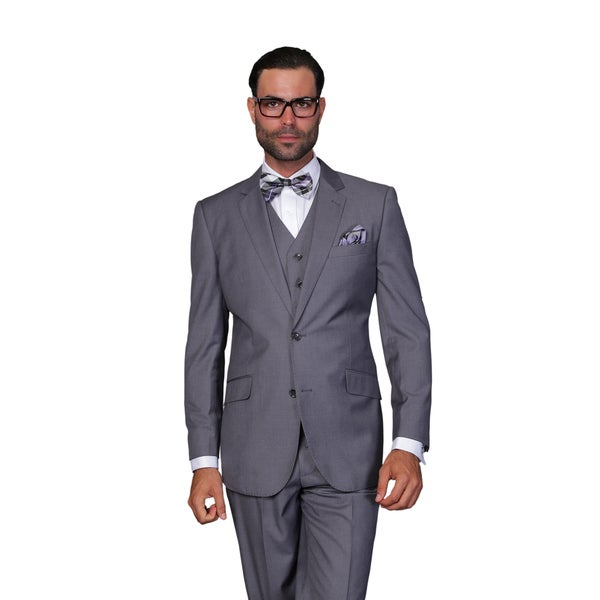 Statement Mens Charcoal Wool 3-piece Suit