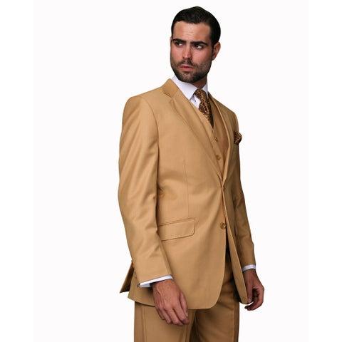 Statement Men's Camel Wool 3-piece Suit
