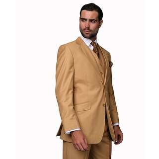 Statement Men's Camel Wool 3-piece Suit