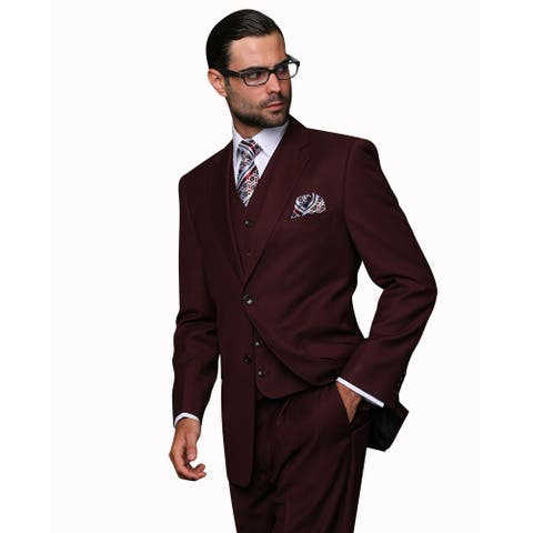 Statement Men's Burgundy Wool 3-piece Suit 56L Size (As Is Item)