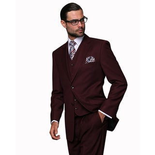 Statement Men's Burgundy Wool 3-piece Suit