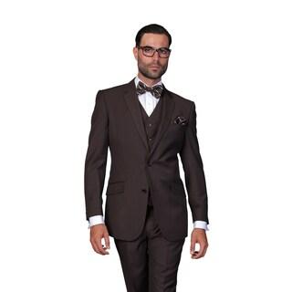 Statement Men's Khaki Italian Wool 3-piece Suit