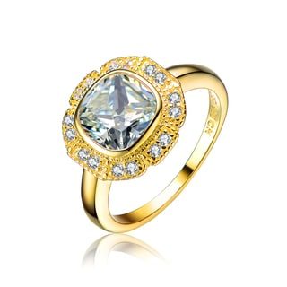 Collette Z Gold Overlay Cubic Zirconia Fashion Forward Ring Size 6