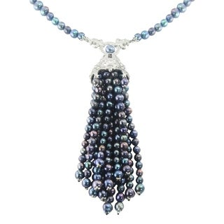 One-of-a-kind Dallas Prince Sterling Silver Marcasite and Peacock Pearl Teslel Necklace