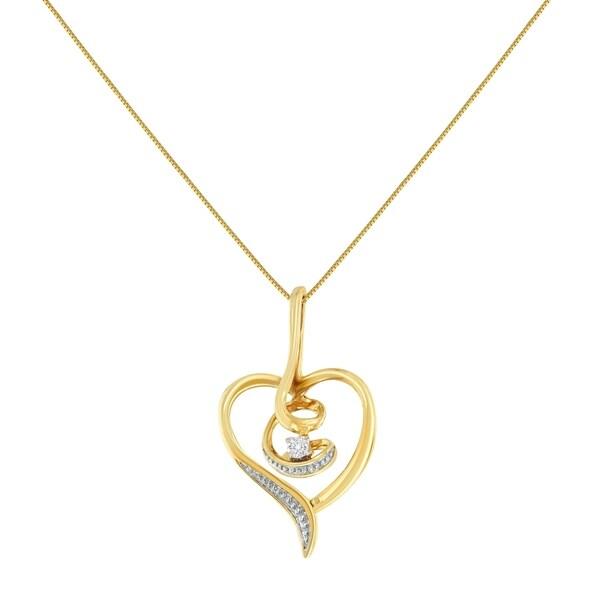 Espira 10K Yellow Gold .03 ct TDW Diamond Swirl Heart Pendant Necklace (H-I, I2-I3)