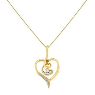 Espira 10K Yellow Gold .03 ct TDW round-cut Diamond Swirl Heart Pendant Necklace (H-I, I2-I3)