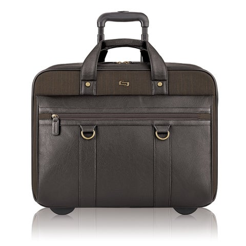 Solo Bradford Executive Brown Vinyl/Polyester/Fabric Rolling 17.3-inch Laptop Case