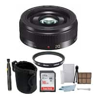 Panasonic Lumix G H-H020AK 20mm F/1.7 II ASPH Lens (Black) with 16GB Accessory Bundle
