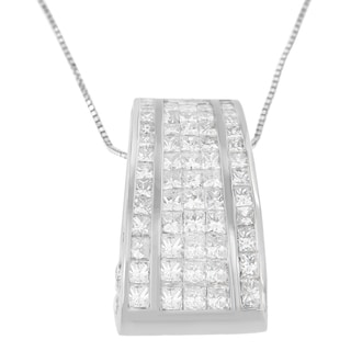 18k White Gold 2 7/8ct TDW Princess and Round-cut Banded Diamond Pendant (H-I, SI1-SI2)