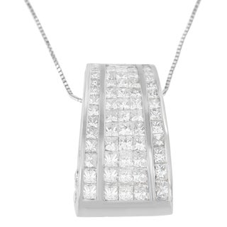 18K White Gold 2 4/5 ct. TDW Princess and Round Cut Banded Diamond Pendant Necklace (H-I, SI1-SI2)