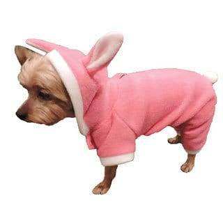 L&C Puppy-Ro Puppy Dog Pink Fleece Hooded Bunny Suit (Large)