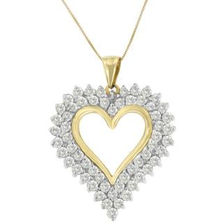 10k Yellow Gold 3ct TDW Round-cut Diamond Open Heart Pendant (K-L, I2-I3)
