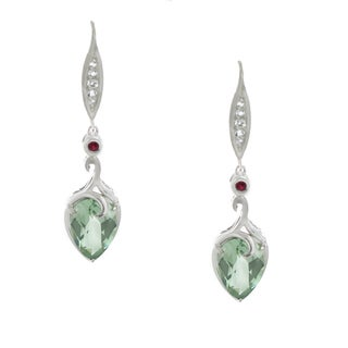 One-of-a-kind Dallas Prince Sterling Silver Green Amethyst, Ruby and White Zircon Earrings