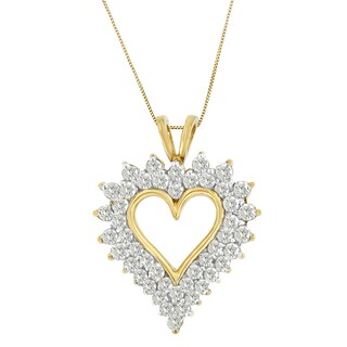 10k Yellow Gold 3ct TDW Round-cut Diamond Open Heart Pendant (I-J, I2-I3)