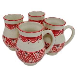 Handmade Large Stoneware Mugs (set of 4) Nejma Design, by Le Souk Ceramique (Tunisia)