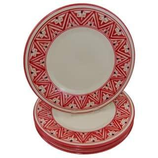 Handmade Set of 4 Stoneware Dinner Plates Nejma Design (Tunisia)|https://ak1.ostkcdn.com/images/products/13466482/P20154424.jpg?impolicy=medium
