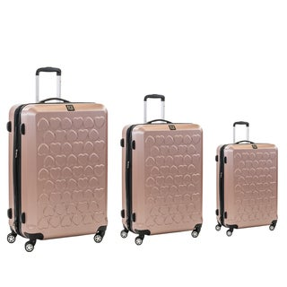 Ful Gold Hearts 3-piece Molded Hardside Spinner Luggage Set