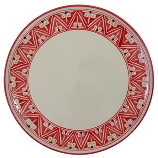 Handmade Round Stoneware Platter Nejma Design (Tunisia)