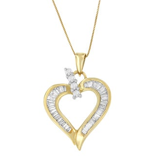 14k Yellow Gold 3/4ct TDW Round and Baguette Diamond Heart Pendant (H-I, I1-I2)