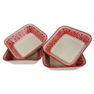 Set of 4 Square Stoneware Pasta/Salad Bowls Nejma Design (Tunisia)