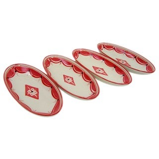 Set of 4 Small Stoneware Oval Platters Nejma Design (Tunisia)