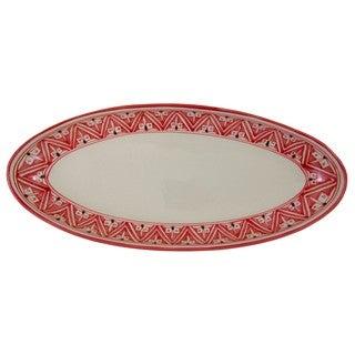 Handmade Extra Large Stoneware Oval Platter Nejma Design (Tunisia)