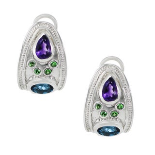 One-of-a-kind Dallas Prince Sterling Silver Etruscan London Blue Topaz, Amethyst and Tsavorite Earrings