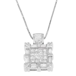 14k White Gold 3/4ct TDW Baguette and Princess-cut Diamond Square Halo Pendant (H-I, SI1-SI2)
