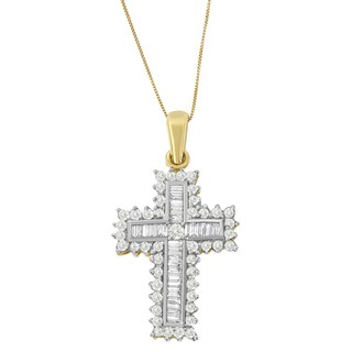 14k Yellow Gold 2ct TDW Round and Baguette Diamond Cross Pendant (I-J, I1-I2)
