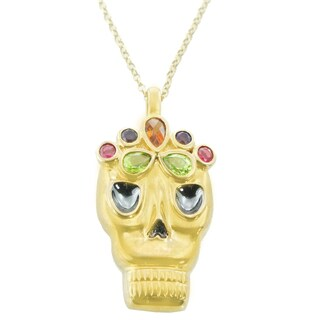 One-of-a-kind Michael Valitutti Sterling Silver Fire Citrine, Peridot, Amethyst and Garnet Multi Gemstone Catrina Pendant
