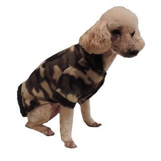 L C Puppy-Ro Puppy Dog Camo Print Fleece Sweater with hood