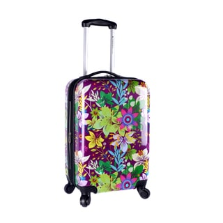 Travelers Club Purple Flower 20-inch Expandable Hard-sided Spinner Carry-on Suitcase