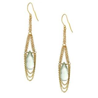One-of-a-kind Michael Valitutti Sterling Silver Prasiolite Drop Earrings