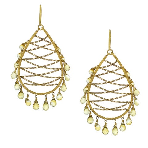 One-of-a-kind Michael Valitutti Sterling Silver Vermeil Citrine Chandelier Earrings