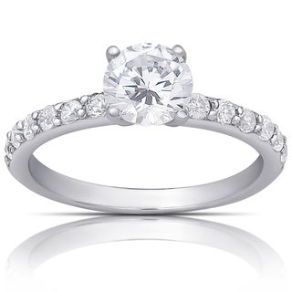 Dolce Giavonna Sterling Silver Cubic Zirconia Classic Engagement Ring