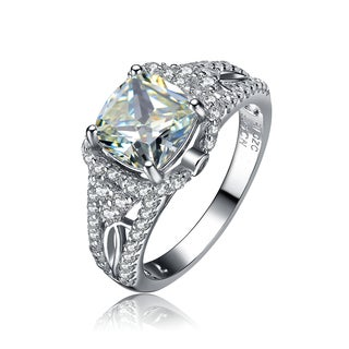 Collette Z Sterling Silver Large Cubic Zirconia Solitaire Ring Size 6